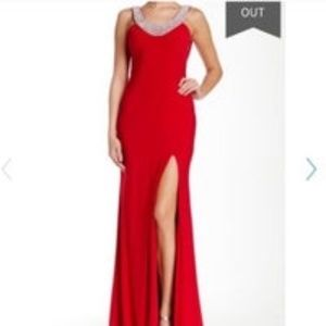 La Femme Red Draped Back Gem Neck Dress Sz 0